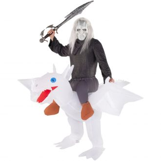 White Ride On Dragon Inflatable Costume